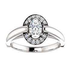 14kt White Gold 6x4mm Center Oval Genuine Diamond (Color GHI, Clarity SI2-SI3) and 12 Accent Diamonds (Color I-J, Clarity I1) Ring...(ST71713:390:P).! Price: $1199.99