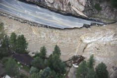 Sept. 14, 2013. A large section of Colorado U.S. 34 completely washed out from recent flooding of the Big Thompson River in the Big Thompson Canyon in Larimer County, Co.