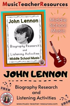 Know more about musician John Lennon with this Biography Research and Listening Activity. Available as printable PDF, TpT Digital Activity and Google Slides™ for distance learning. ♫ ♫ #musiceducation #mtr Child Teaching, Teaching Music, Music Classroom, Classroom Resources, Music Lessons For Kids, Middle School Music, Music Worksheets, Active Listening, Music Activities