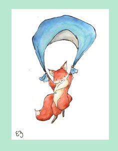Floating Fox. PRINT 8X10. Nursery Art Wall Decor by LoxlyHollow