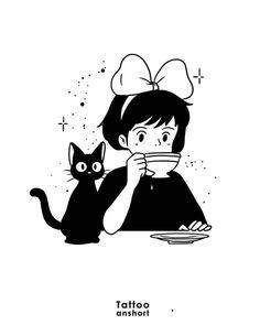 Tatuaje Studio Ghibli, Studio Ghibli Tattoo, Studio Ghibli Art, Studio Ghibli Movies, Art Sketches, Art Drawings, Arte Indie, Anime Tattoos, Tatoos