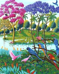 Buy and sell art online. Browse millions of original artworks like painting, photography, sculpture and fine art prints by great confirmed and emerging artists Art And Illustration, Illustrations, Jungle Art, Haitian Art, Caribbean Art, Tropical Art, Happy Art, Arte Floral, Naive Art
