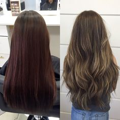 Yay for transformations! We did a color correction to get rid of the red and make it a pretty chocolate brown and a full head highlight with some hair painting for a settle balayage ombre! Pelo Bronde, Balayage Brunette, Brunette Hair, Color Correction Hair, Hair Painting, Ombre Hair, Dyed Hair, Rid, Hair Makeup