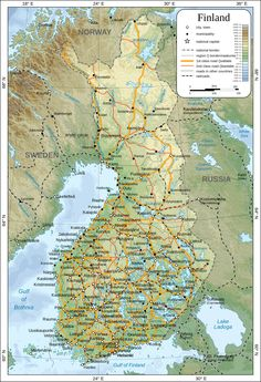 Large detailed map of Finland with cities and towns Finland Map, Cities In Finland, Turku Finland, Finland Travel, Helsinki, Learn Finnish, Treaty Of Paris, Historical Maps, Norway