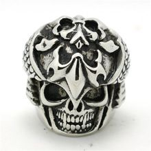 316L Stainless Steel Punk Gothic Cool Big Fleur De Lis Silver Skull Ring(China (Mainland))