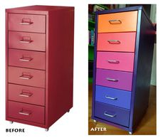 DIY spraypainted Ikea Helmer drawers, keep an eye out for something like this at garage sale this SPRING & summer to paint and paper for scrap room!