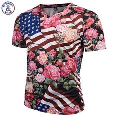2017 Mr.1991INC Fashion Brand Tshirt Men/Women 3d T-shirts V-neck Print USA Flag Skulls Roses Flowers Graphic T shirt Summer Tee #Affiliate