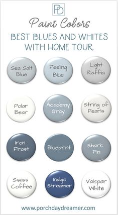Before and After photo home tour of the major updates and room makeovers completed in a year. Included are all of the paint colors used in every project, along with all of the how-to DIY tutorials! See the best blue and white paint colors in real rooms! Blue Gray Paint, White Paint Colors, Bedroom Paint Colors, Paint Colors For Home, Room Colors, Bluish Gray, Paint Colors For Kitchens, Blue Paint For Bedroom, Paint Colors For Bathrooms