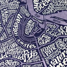 Detail of: Intricate typographic map of Amsterdam naming grachten . Graphic Art, Graphic Design, Typography, Lettering, City Maps, Holland, Screen Printing, Muse, City Photo