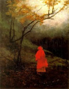 Alone in the Park.Little Red Riding Hood Red Ridding Hood, Red Hood, Art Themes, Little Red, Dark Art, Online Art, In This World, Illustrators, Fairy Tales