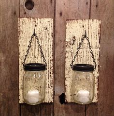 Yellow barnwood mason jar candle holders by Thesalvagednail