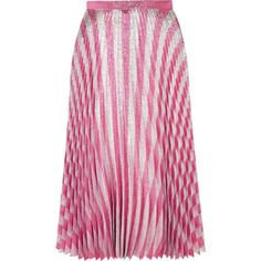GucciPleated Metallic Striped Stretch-silk Midi Skirt (€1.340) ❤ liked on Polyvore featuring skirts, blush, pink striped skirt, gucci, striped midi skirt, striped pleated skirt and metallic skirts