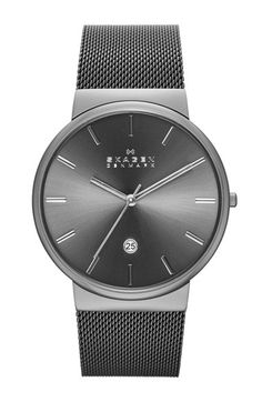 Skagen 'Ancher' Round Mesh Strap Watch, 40mm available at #Nordstrom