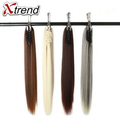 Latest Collection Of Xtrend 20inch 130g Long Straight Synthetic Ponytail Hair Extension With Claw Clip Fake Hairpieces For Lady High Tempreture Fiber Synthetic Ponytails