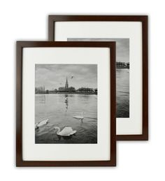 Set of 2 11x14 Walnut Color Wood Swan picture Frame with REAL GLASS #GoldenStateArt #Modern