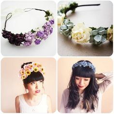"""DIY Floral Headband Floral headbands also obviously make for a super simple/rad craft project. You will need: Silk Flowers Sewing materials A fabric covered headband"""
