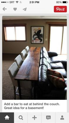 Add a bar behind the couch. Perfect for an entertainment space and movie watching. Dinner Theater 2.0