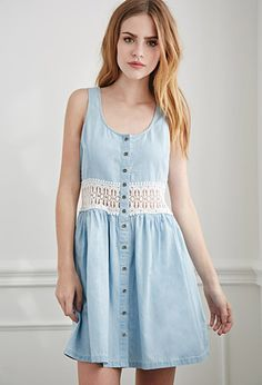Crochet-Paneled Chambray Dress | Forever 21 | #f21denim