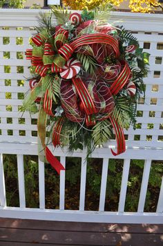 Deco Mesh Wreaths  XL Christmas Front Door Wreath Wreaths Full Lollipops Sparkly Glittered Beautiful Lush Greenery