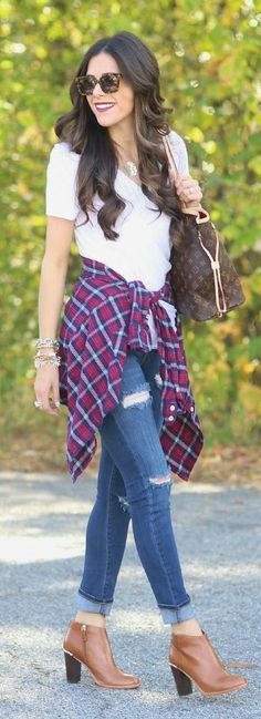 60 Stylish Fall Outfits On The Street 2015 — Style Estate Cute Simple Outfits, Cute Teen Outfits, Outfits For Teens, Casual Outfits, Fall Winter Outfits, Autumn Winter Fashion, Love Fashion, Womens Fashion, Fashion Trends