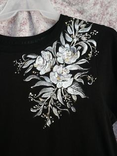 Hand Painted T- Shirt Tapestry - Textile by Karin Dawn Kelshall- Best Fabric Paint Shirt, Paint Shirts, T Shirt Painting, Fabric Painting, Fabric Art, Tshirt Painting Ideas, Hand Painted Dress, Hand Painted Fabric, Painted Jeans