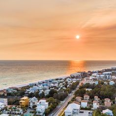 Tangerine skies from Blue Mountain Beach, Florida. Florida Beaches, Sandy Beaches, Blue Mountain Beach Florida, Hgtv House Hunters, Beach Haven, Beach Road, Beach Bungalows, Beach Fun, Natural Wonders