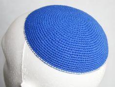 kippah blue with silver edge by crochetkippah on Etsy