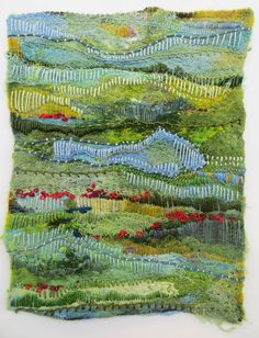Jane LaFazio — Dreaming Tuscany in May Textile Fiber Art, Textile Artists, Fabric Postcards, Textiles Techniques, Contemporary Embroidery, Fabric Journals, Thread Painting, Felt Art, Embroidery Art