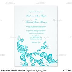 "Turquoise Paisley Peacock Chic Wedding Invite 5"" X 7"" Invitation Card"