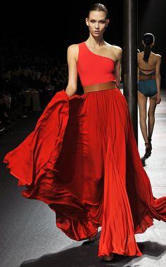Red maxi dress catwalk