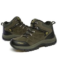 Large Size Unisex High-Top Outdoor Hiking Shoes with Faux Fur Lining