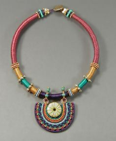 """Joan Babcock Necklace  """"Moroccan Collar"""" - Nylon cord, Turquoise stone, Brass, and Glass beads."""