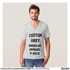Custom Personalized Men's GREY V-NECK T-SHIRT