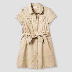 Girls' Woven Belted Safari Dress Cat & Jack Cat & Jack Pita Bread Brown 6X, Girl's