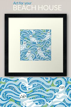Fun seals in the waves, perfect art for a beach house