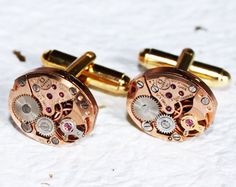 OMEGA Cufflinks - with Genuine Omega Vintage Watch Movement! $120. Available at http://www.etsy.com/shop/TimeInFantasy .  #Steampunk #watch #wedding