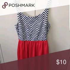Chevron tank dress Chevron top, red bottom Dresses