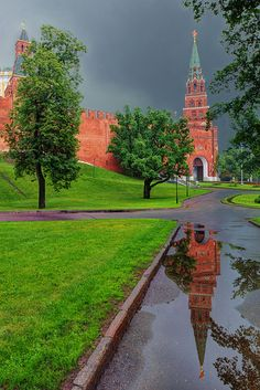 The Borovitskaya Tower in Reflection, rainy day in Moscow, Russia