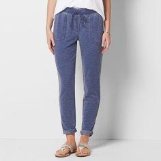 Petite SONOMA Goods for Life™ Beach Fleece Cuffed Pants, Women's, Size: Xl Petite, Dark Blue