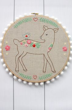 I am so excited to show off my newest embroidery pattern! This Daisy the Floral Deer Embroidery Pattern is my next pattern in a line of sweet woodland embroidery projects I'm doing.