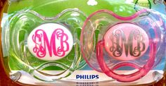 Monogrammed pacifier. Love this PotterGentry etsy site