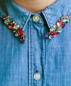 DIY jeweled collar (from earrings and hairclips) // www.nutmegan.com