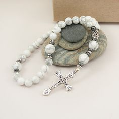 Anglican Prayer Beads White Howlite Gemstones by UnspokenElements