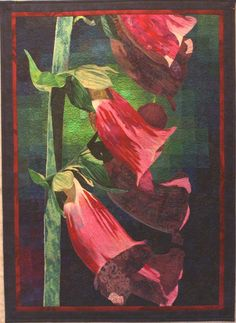 Foxgloves art quilt by Lenore Crawford