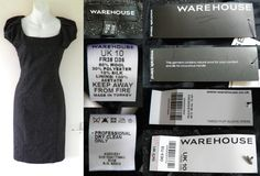 2010's WAREHOUSE Smart Grey Fitted Pencil Wiggle Tweed Wool Dress S 10 38 NEW BNWT RRP £70  18.01
