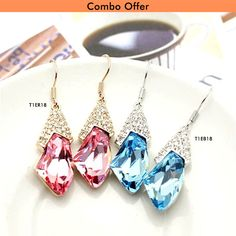 Get Combo Offer on Gold Plated Sea Blue and Rose Pink Crystal Drop Earrings by Trendymela.Buy this at just Rs.449.✓free shipping ✓COD Buy now @ Trendymela.com