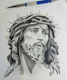 44 ideas de dibujo a lápiz de escultura, Jesus Tattoo Design, Tattoo Design Drawings, Tattoo Sketches, Tattoo Designs, Jesus Christ Drawing, Jesus Drawings, Jesus Art, Tattoos 3d, Sleeve Tattoos