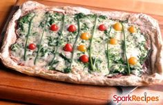 This game-day #pizza pie is sure to score a touchdown! | via @SparkPeople #football #snacks #party