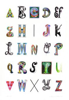 "ed fella's ""alphabet with monogram"" for illustrated type at gallery nucleus Typography Love, Typography Inspiration, Typography Letters, Hand Lettering, Alphabet Letters, Alphabet City, Alphabet Soup, Design Museum, Vintage Travel Posters"