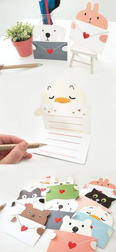 Write on this adorable Heart Animal Message Card! - Write on this adorable Heart Animal Message Card! Kids Crafts, Diy And Crafts, Easy Crafts, Cute Cards, Diy Cards, Diy Paper, Paper Crafts, Diy Y Manualidades, Ideias Diy